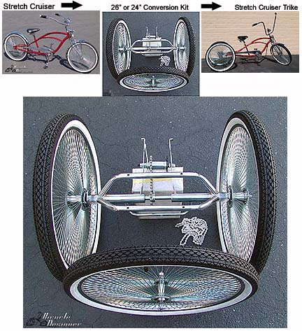 Multiple Colors Alta Tricycle Trike 26 Conversion Kit with Plate